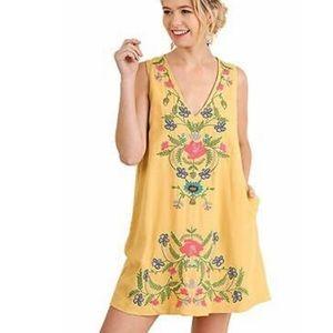 Umgee   Mustard Boho Embroidery Dress